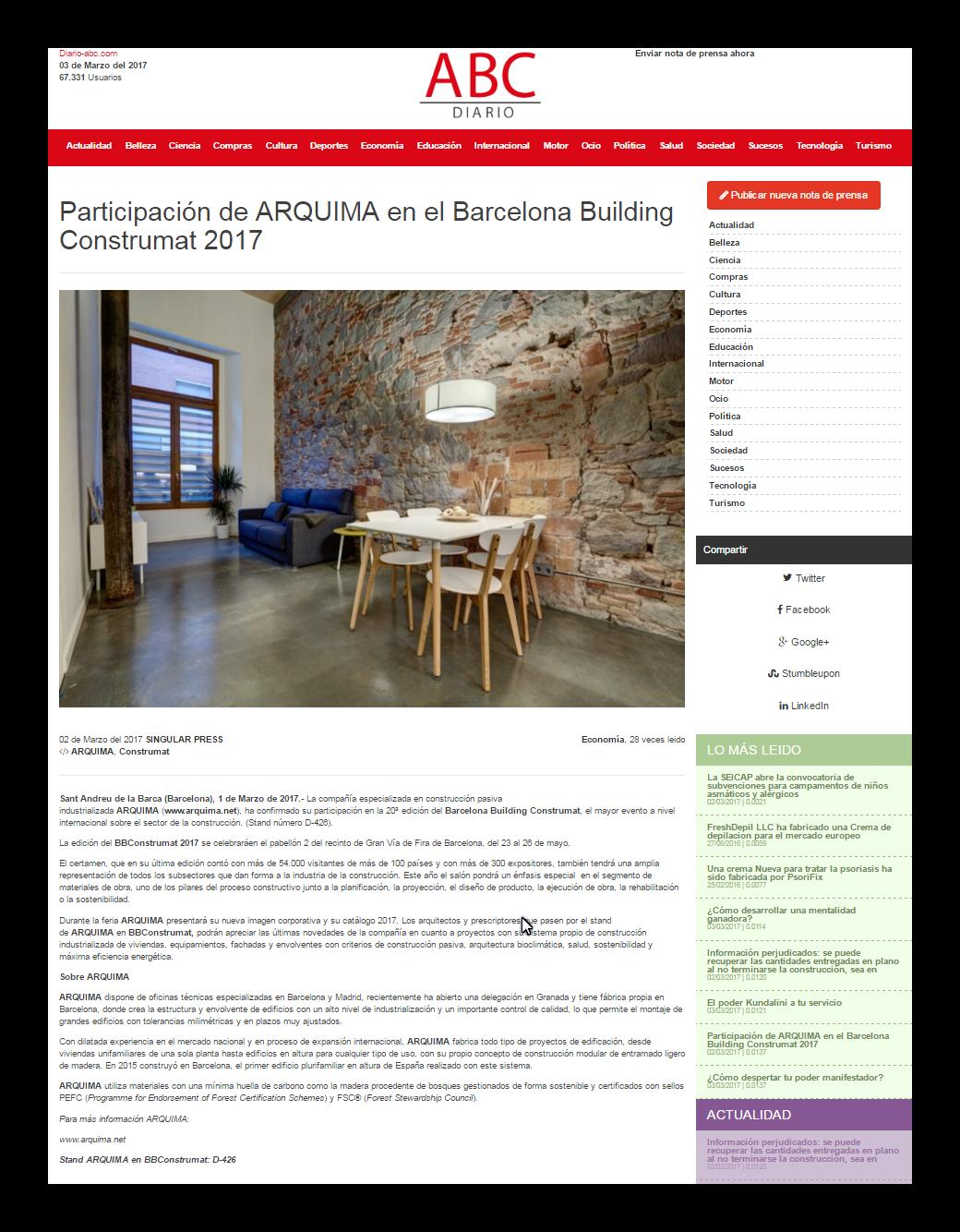Participación de Arquima en Construmat 2017